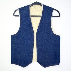 Vintage 1970s Sherpa Fleece Lined Denim Vest